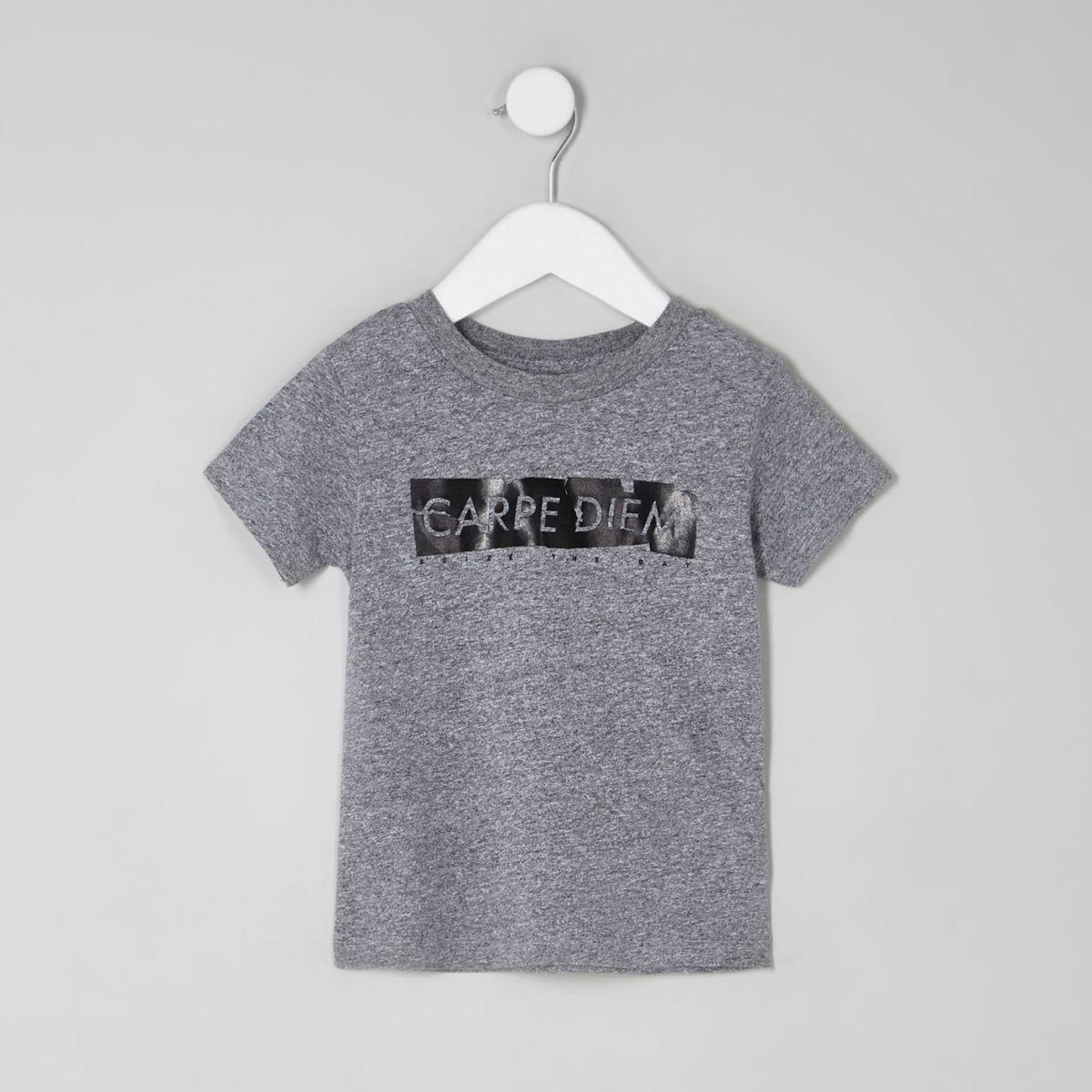 Mini boys grey 'carpe diem' T-shirt