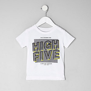 Mini boys white 'high five' print T-shirt