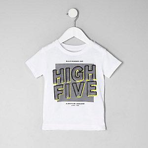Mini - Wit T-shirt met 'high five'-print voor jongens