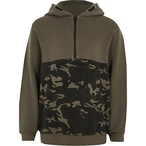 Boys khaki green block camo hoodie