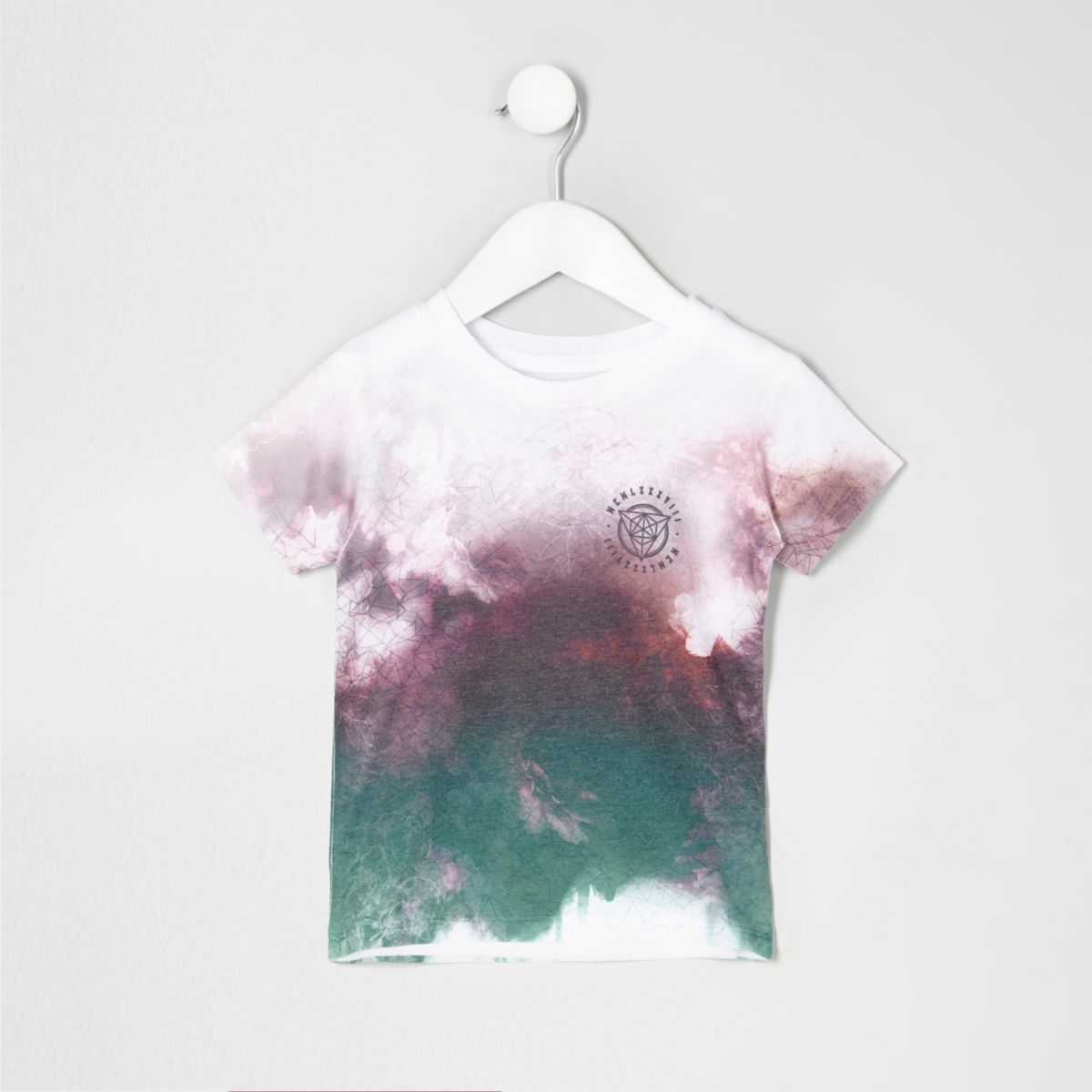 Mini boys red smudge print T-shirt