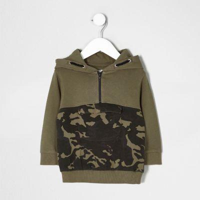 mini boys khaki green camo block hoodie u0027