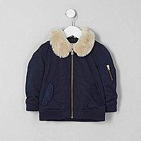 Mini boys navy faux fur collar flight jacket