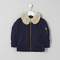 Mini boys navy faux fur collar flight jacket