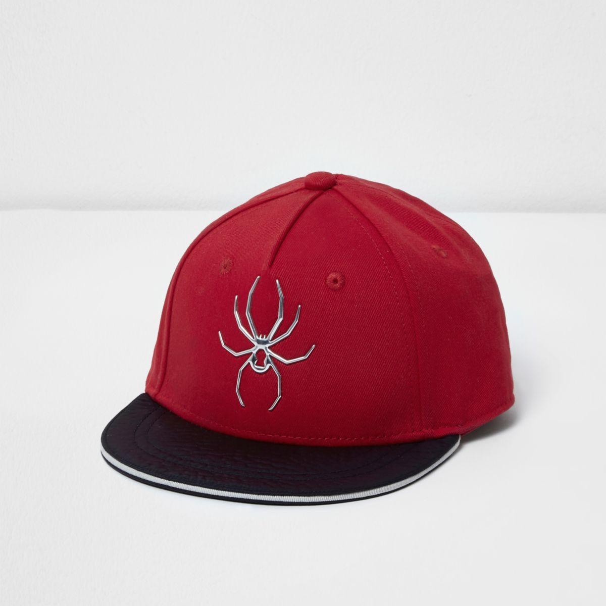 Mini boys red spider front flat peak cap