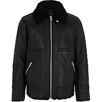 Boys faux leather aviator jacket