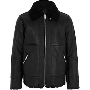 Boys faux leather aviator jacket