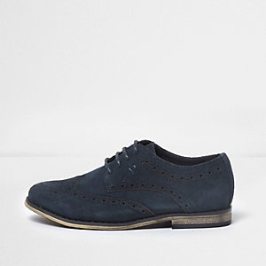 Boys navy suede brogues