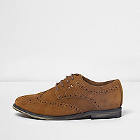 Boys tan brown suede brogues