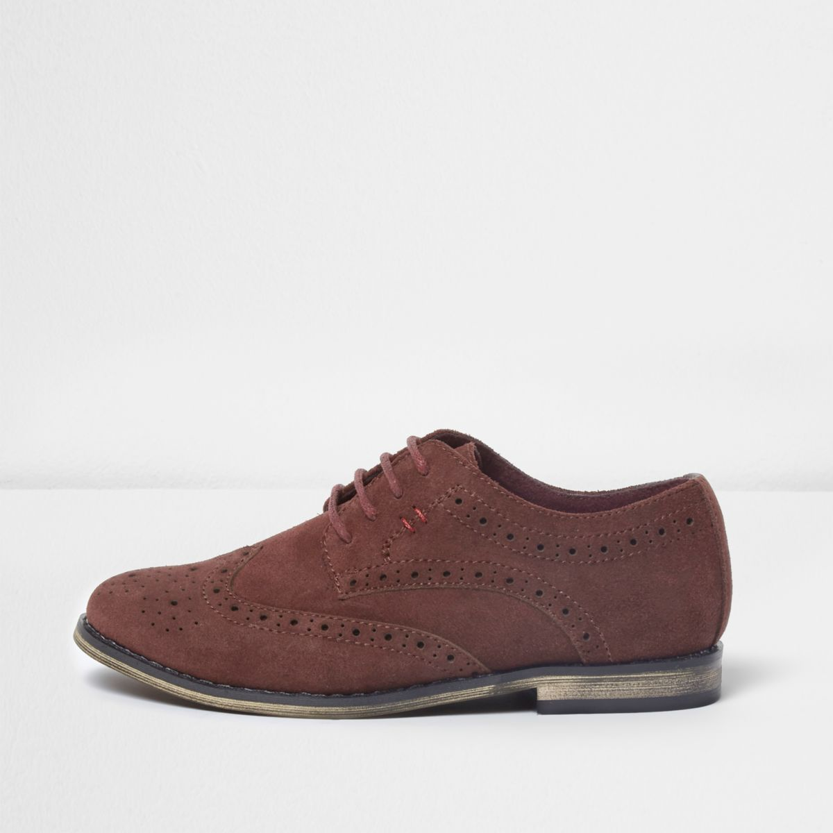 Boys dark red suede brogues