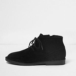 Boys black faux suede desert boots