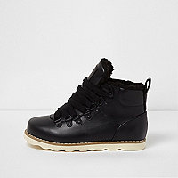 Boys black fleece lined ankle hiking boots