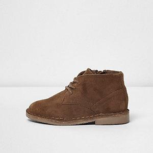 Mini boys tan faux suede desert boots