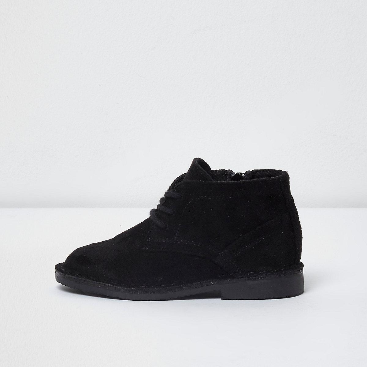 Mini - Zwarte desert boots van imitatiesuède voor jongens