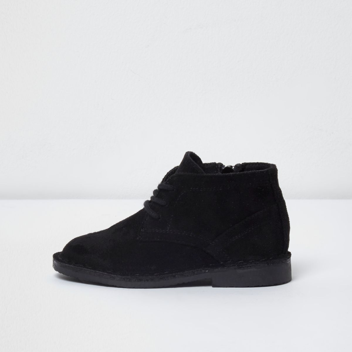 Mini boys black faux suede desert boots