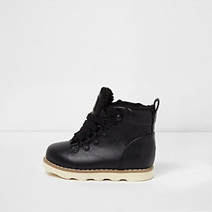 Mini boys black borg lined ankle hiking boots