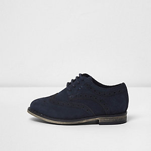Mini boys navy suede brogues