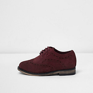 Mini boys dark red suede brogies