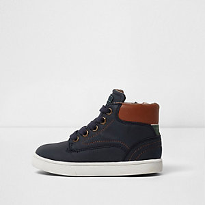 Mini boys blue navy and tan hi top trainers