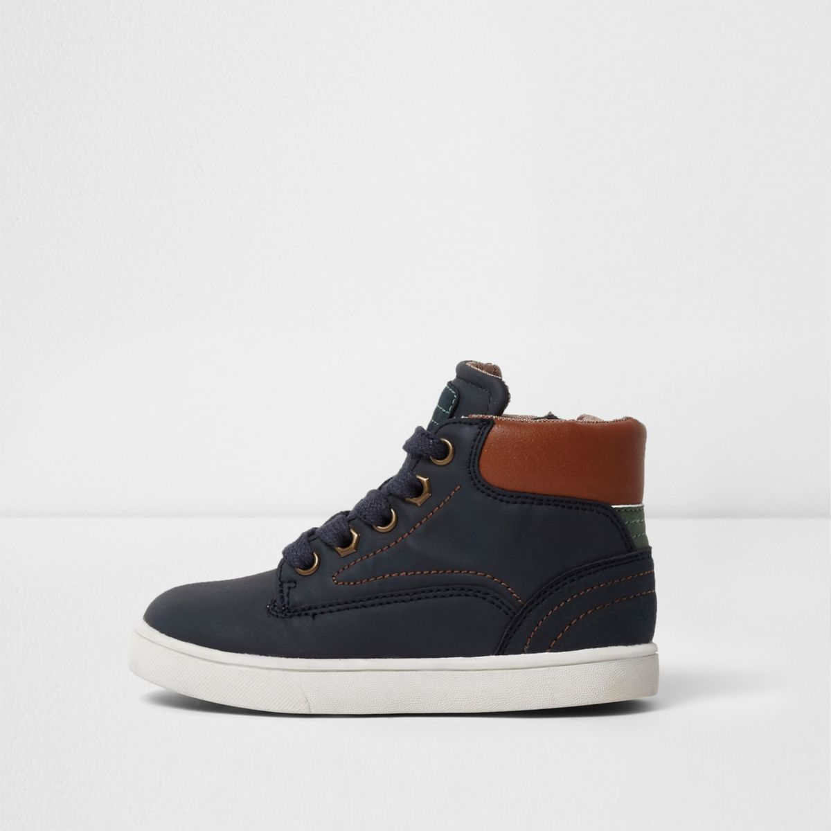 Mini boys blue navy and tan hi top sneakers