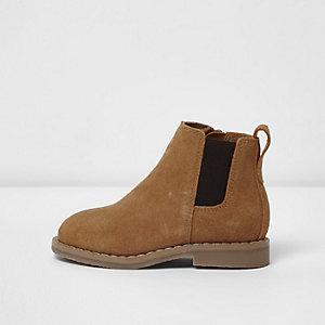 Mini - Bruine chelsea boots van imitatiesuède voor jongens