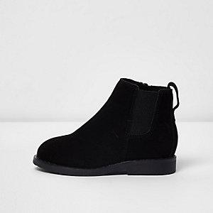 Mini - Zwarte chelsea boots van imitatiesuède voor jongens