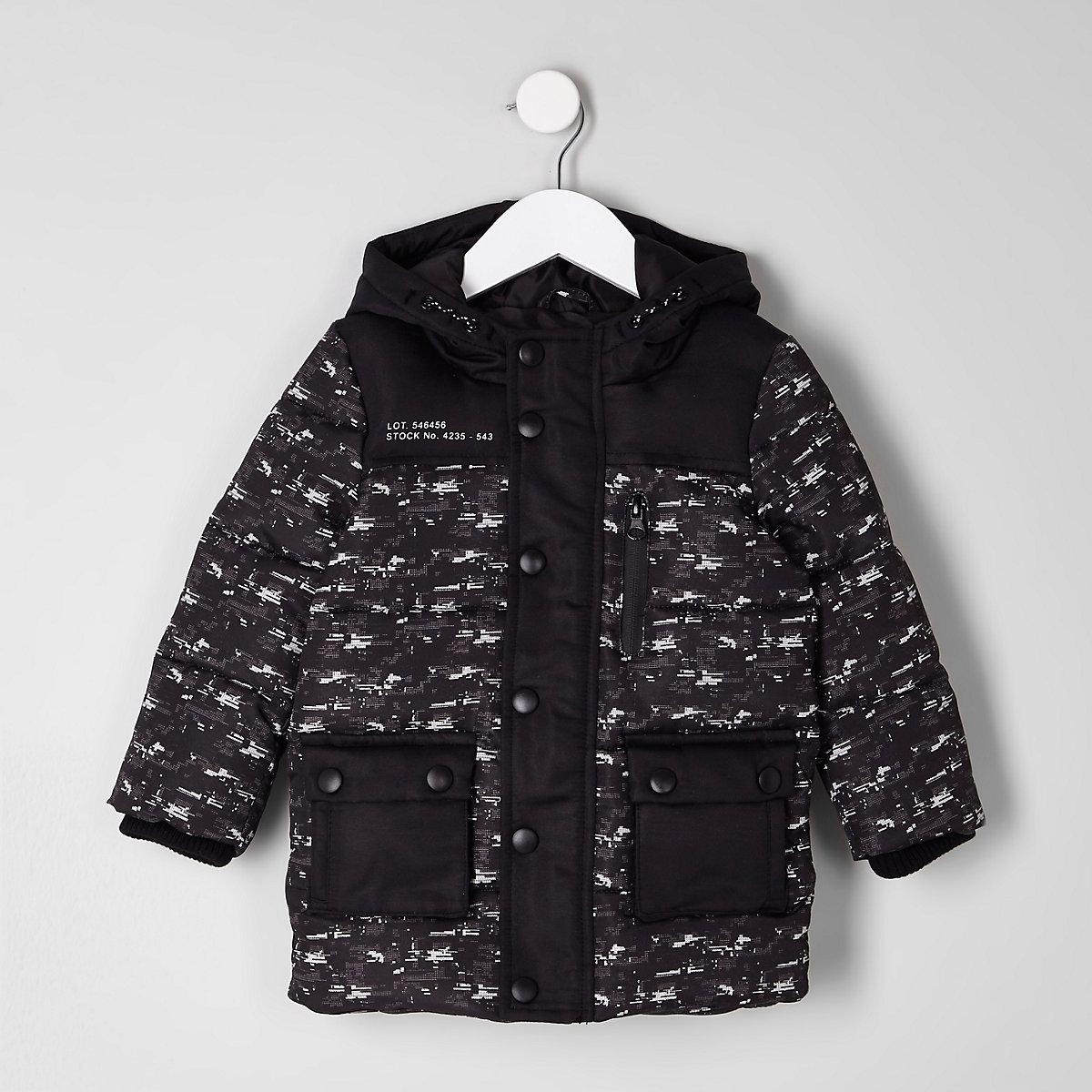 Mini boys black camo glitch print puffer coat