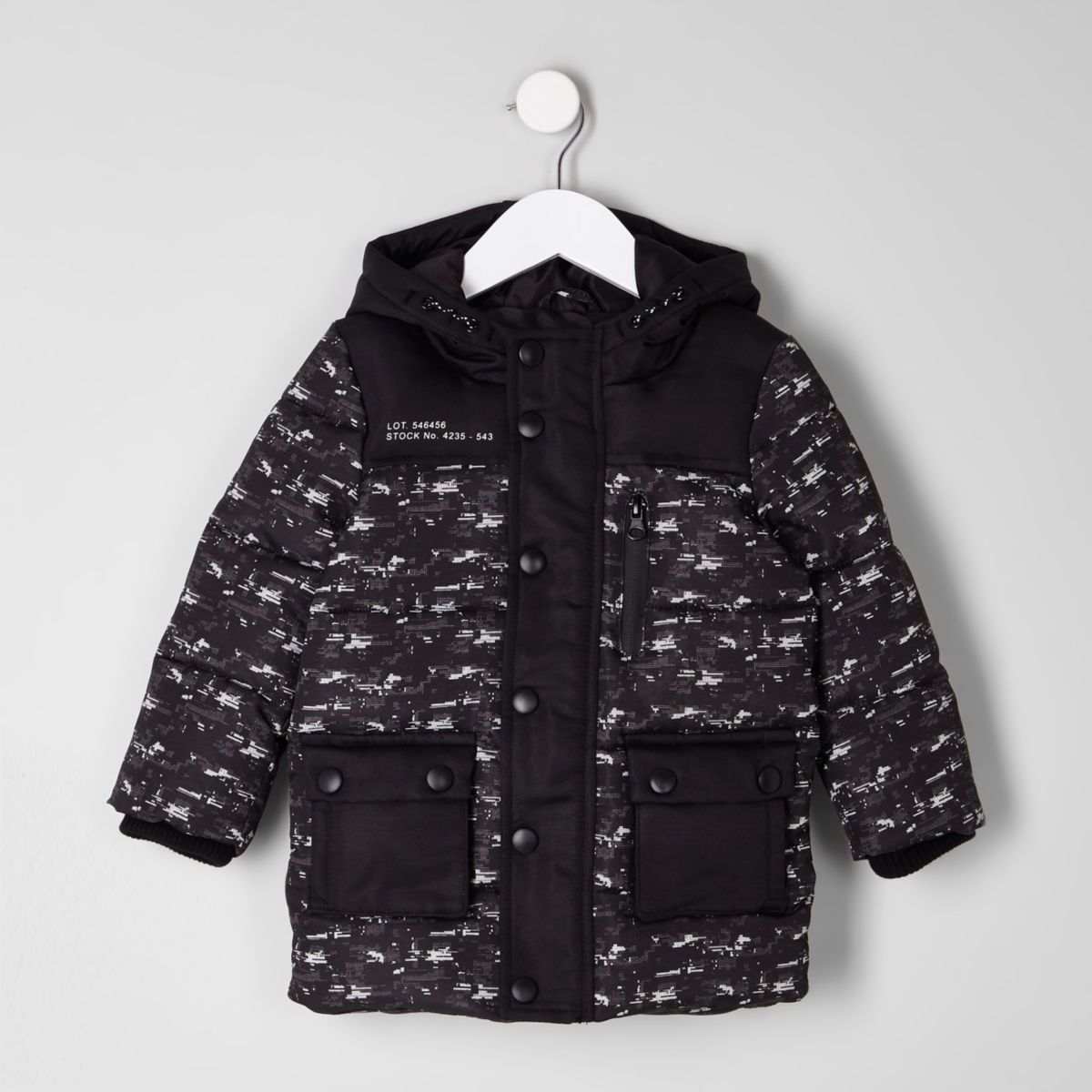 Mini boys black camo glitch print puffer coat