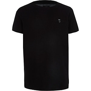 Boys black waffle chest pocket T-shirt