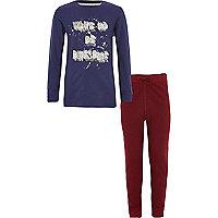Boys navy 'wake up be awesome' pyjama set