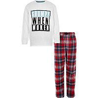 Boys white 'grumpy when woken' pyjama set