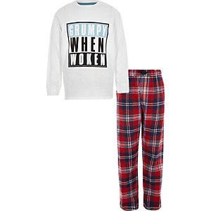 Witte pyjamaset met 'grumpy when woken'-print voor jongens