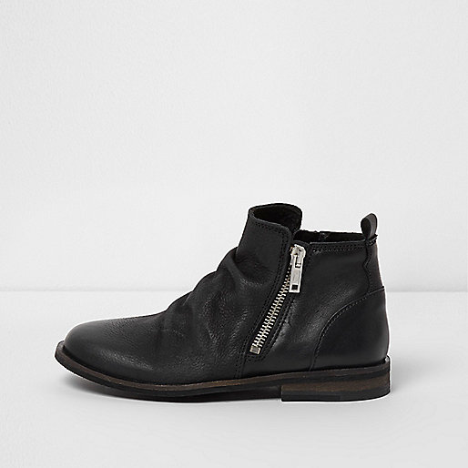 Boys black leather zip side chelsea boots