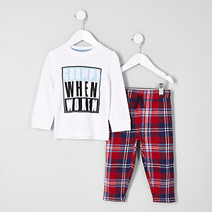 Mini Boys – Pyjamaset mit Grumpy when woken-Print