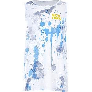Wit hemdje met verfspatten en 'New York'-print voor jongens