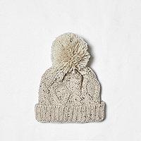 Mini boys cream cable knit bobble beanie hat