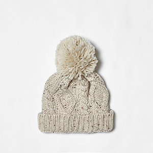Mini boys cream cable knit bobble beanie hat