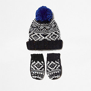 Mini boys mono knit beanie hat and gloves set
