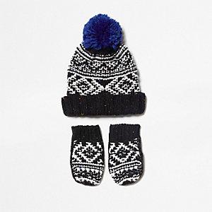 Ensemble bonnet et gants en maille noire et blanche mini garçon