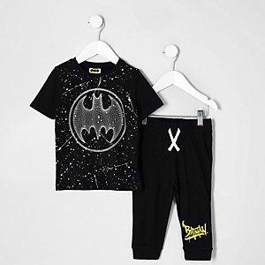 Mini boys black Batman pajama set