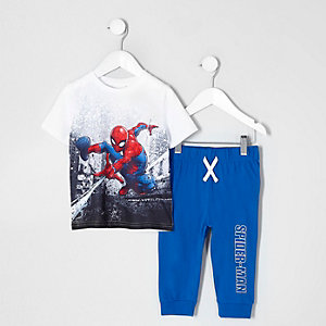 Mini - Blauwe Spiderman pyjamaset voor jongens