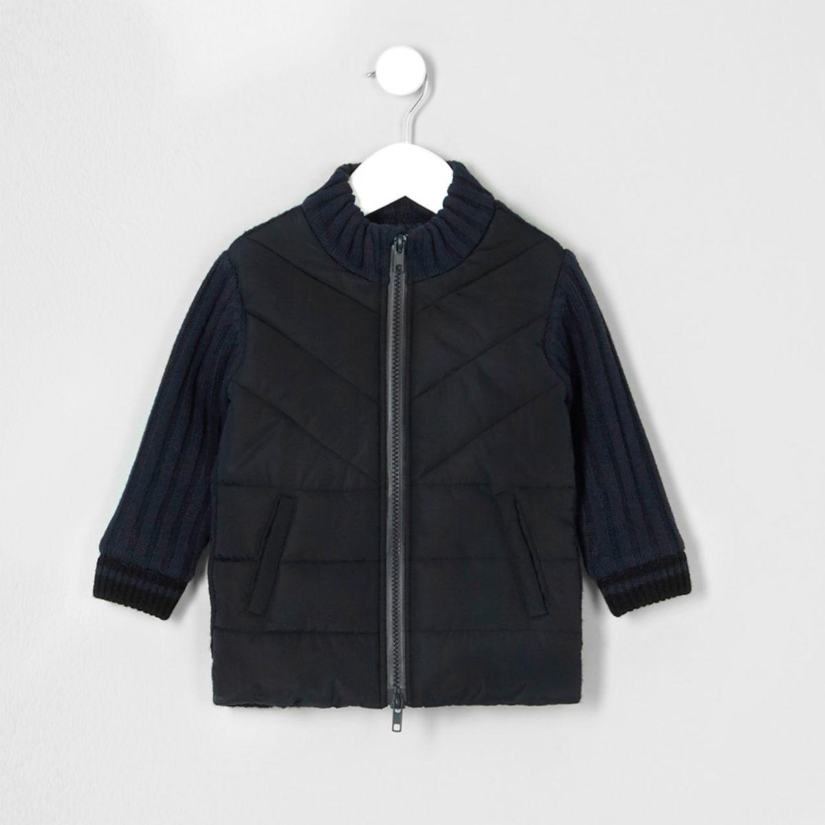 Mini boys rib knit padded front cardigan