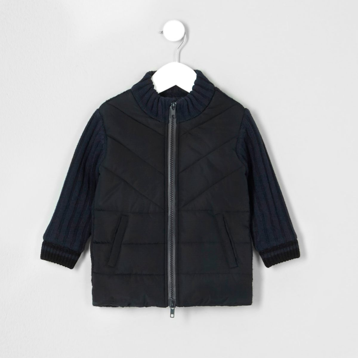 Mini boys rib knit padded front cardigan