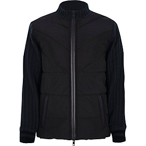 Boys navy puffer front knit hybrid jacket