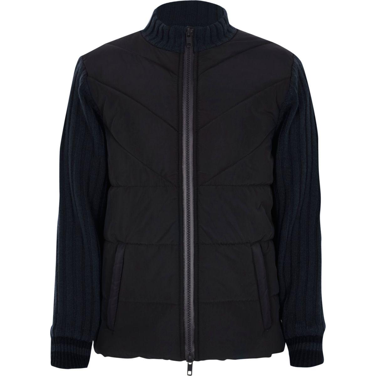 Boys navy puffer front knit hybrid jacket