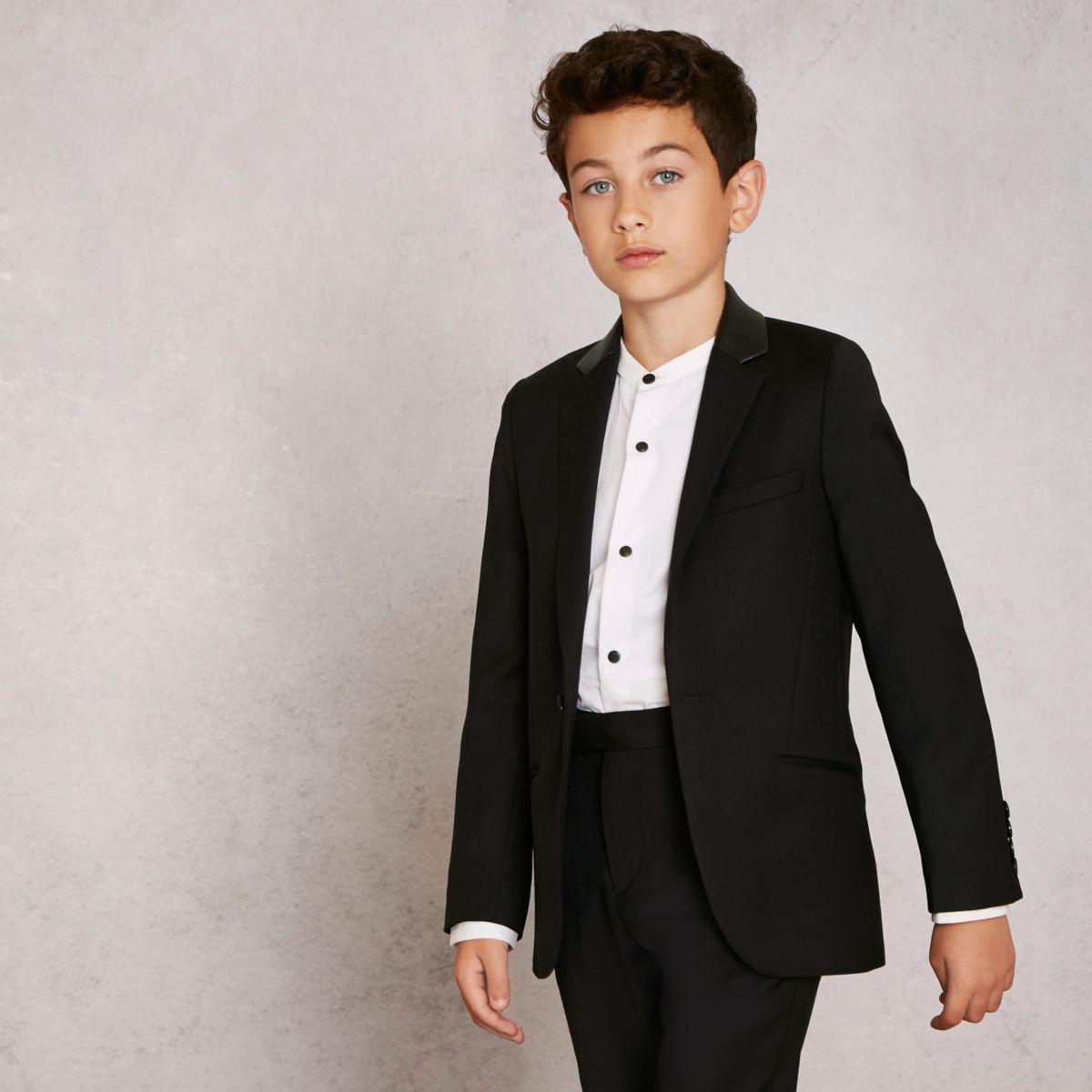 RI Studio – Blazer en laine mélangée noir pour garçon