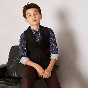Boys black RI Studio paisley vest