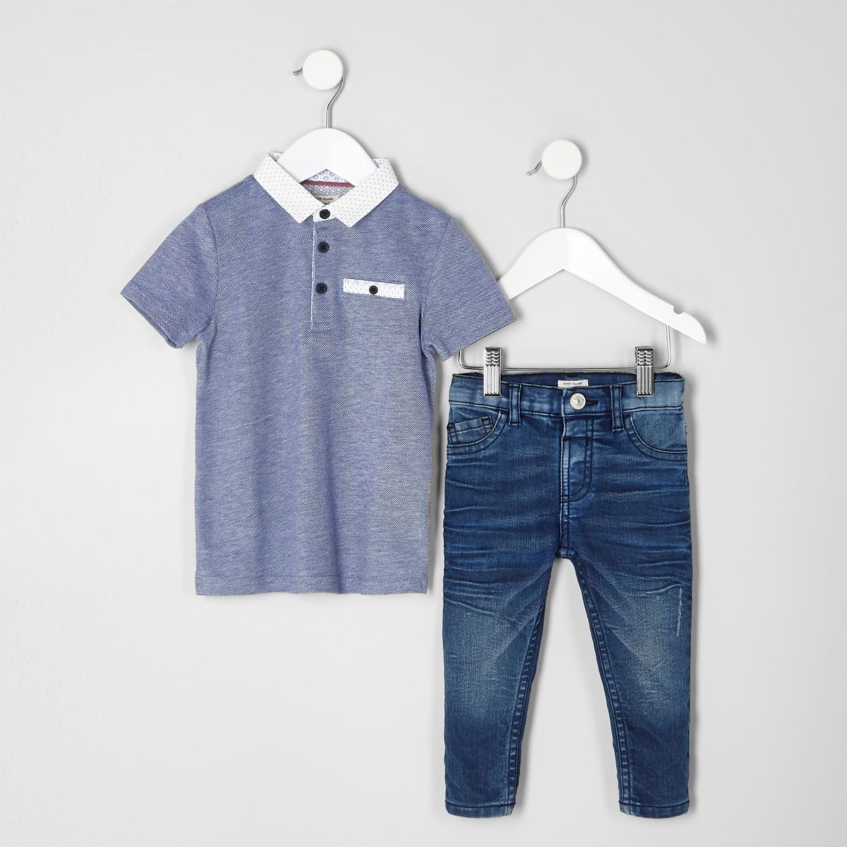 Mini boys navy polo and blue jeans outfit