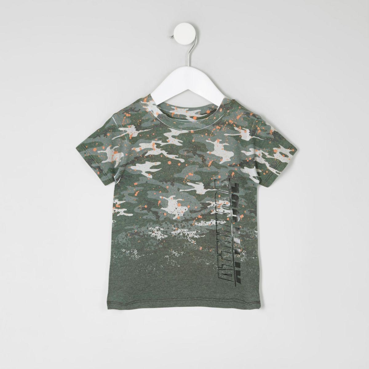 Mini boys khaki camo paint splatter t-shirt