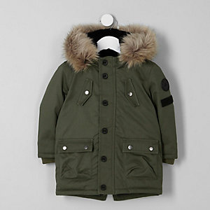 Mini boys khaki green parka